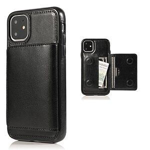 Θήκη iPhone 11 OEM από συνθετικό δέρμα με βάση στήριξης και υποδοχές καρτών / χρημάτων Πλάτη μαύρο