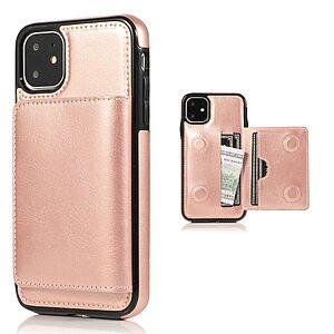 Θήκη iPhone 11 OEM από συνθετικό δέρμα με βάση στήριξης και υποδοχές καρτών / χρημάτων Πλάτη ροζ