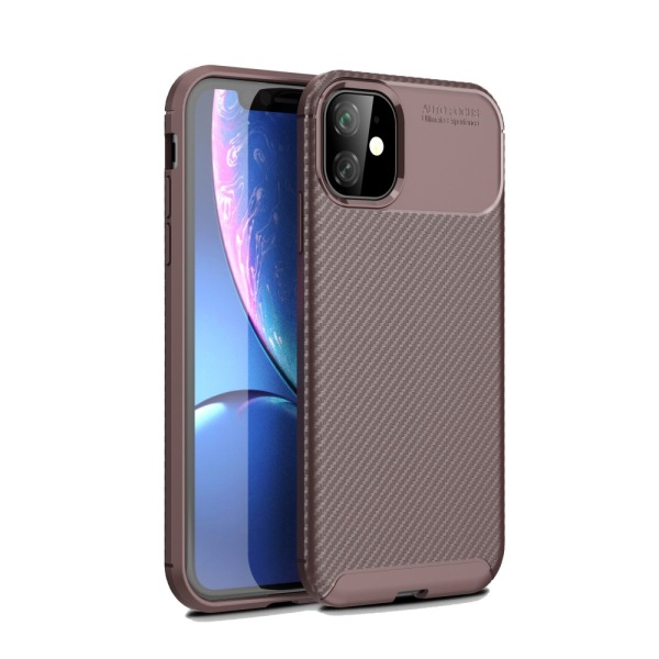 Θήκη iPhone 11 OEM Airbag Carbon Series Πλάτη TPU καφέ