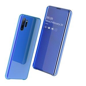 Θήκη Samsung Galaxy Note 10 Plus OEM Mirror Surface View v2 Stand Case Cover Flip Window δερματίνη μπλε