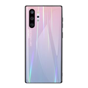 Θήκη Samsung Galaxy Note 10 Plus OEM Gradient Color Laser Carving Tempered Glass Πλάτη TPU ροζ / μωβ