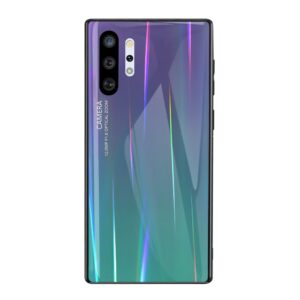 Θήκη Samsung Galaxy Note 10 Plus OEM Gradient Color Laser Carving Tempered Glass Πλάτη TPU μωβ / γαλάζιο