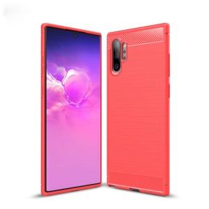 Θήκη Samsung Galaxy Note 10 Plus OEM Brushed TPU Carbon Πλάτη κόκκινο ανοιχτό