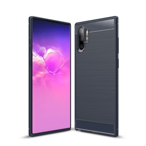 Θήκη Samsung Galaxy Note 10 Plus OEM Brushed TPU Carbon Πλάτη μπλε σκούρο