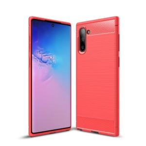 Θήκη Samsung Galaxy Note 10 OEM Brushed TPU Carbon Πλάτη κόκκινο ανοιχτό