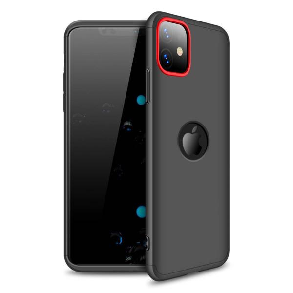 Θήκη GKK Full body Protection 360° από σκληρό πλαστικό για iPhone 11 μαύρο / κόκκινο