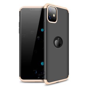 Θήκη GKK Full body Protection 360° από σκληρό πλαστικό για iPhone 11 μαύρο / χρυσό