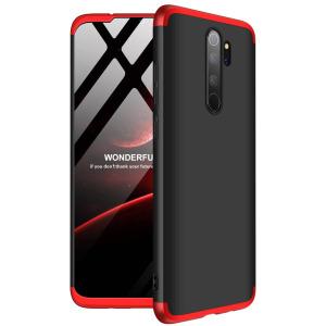 Θήκη GKK Full body Protection 360° από σκληρό πλαστικό για Xiaomi Redmi Note 8 Pro μαύρο / κόκκινο