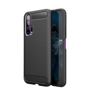 Θήκη Honor 20 Pro OEM Brushed TPU Carbon Back Cover μαύρο
