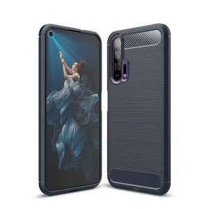 Θήκη Honor 20 Pro OEM Brushed TPU Carbon Back Cover μπλε σκούρο