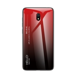 Θήκη Xiaomi Redmi 8A OEM Gradient Color Laser Carving Tempered Glass Back Cover TPU κόκκινο