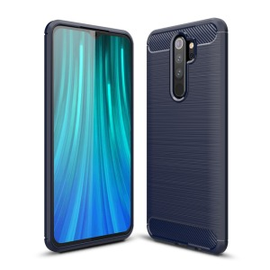 Θήκη Xiaomi Redmi Note 8 Pro OEM Brushed TPU Carbon Back Cover μπλε σκούρο