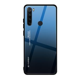 Θήκη Xiaomi Redmi Note 8 OEM Gradient Color Laser Carving Tempered Glass Back Cover TPU μαύρο / μπλε