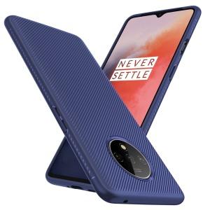Θήκη OnePlus 7T OEM Twill Texture Carbon Πλάτη TPU μπλε