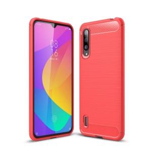 Θήκη Xiaomi Mi 9 Lite OEM Brushed TPU Carbon κόκκινο ανοιχτό
