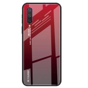 Θήκη Xiaomi Mi 9 Lite OEM Gradient Color Laser Carving Tempered Glass Πλάτη TPU μαύρο / κόκκινο