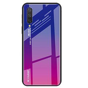 Θήκη Xiaomi Mi 9 Lite OEM Gradient Color Laser Carving Tempered Glass Πλάτη TPU μπλε