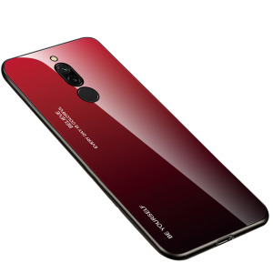 Θήκη Xiaomi Redmi 8 OEM Gradient Color Laser Carving Tempered Glass Πλάτη TPU μαύρο / κόκκινο
