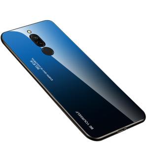 Θήκη Xiaomi Redmi 8 OEM Gradient Color Laser Carving Tempered Glass Πλάτη TPU μαύρο / μπλε