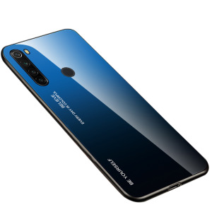 Θήκη Xiaomi Redmi Note 8T OEM Gradient Color Laser Carving Tempered Glass Πλάτη TPU μαύρο / μπλε