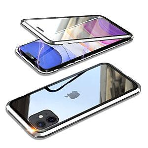 Θήκη iPhone 11 LUPHIE Μεταλλική με εσωτερικό μαγνήτη και Premium Tempered Glass διπλής όψης ασημί