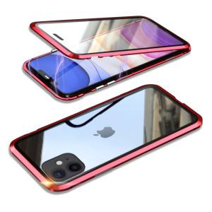 Θήκη iPhone 11 LUPHIE Μεταλλική με εσωτερικό μαγνήτη και Premium Tempered Glass διπλής όψης κόκκινο