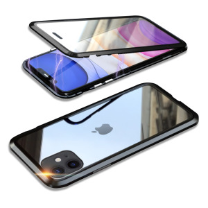 Θήκη iPhone 11 LUPHIE Μεταλλική με εσωτερικό μαγνήτη και Premium Tempered Glass διπλής όψης μαύρο