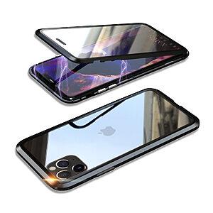 Θήκη iPhone 11 Pro Max LUPHIE Μεταλλική με εσωτερικό μαγνήτη και Premium Tempered Glass διπλής όψης μαύρο