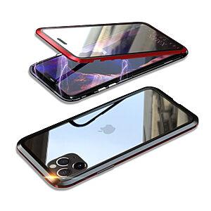 Θήκη iPhone 11 Pro Max LUPHIE Μεταλλική με εσωτερικό μαγνήτη και Premium Tempered Glass διπλής όψης μαύρο / κόκκινο
