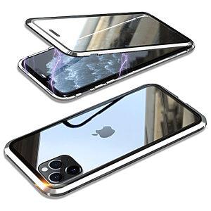 Θήκη iPhone 11 Pro LUPHIE Μεταλλική με εσωτερικό μαγνήτη και Premium Tempered Glass διπλής όψης ασημί
