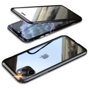 Θήκη iPhone 11 Pro LUPHIE Μεταλλική με εσωτερικό μαγνήτη και Premium Tempered Glass διπλής όψης μαύρο
