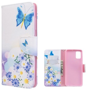 Θήκη Samsung Galaxy A51 OEM Blue Butterfly & Flowers με βάση στήριξης