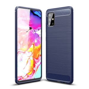 Θήκη Samsung Galaxy A51 OEM Brushed TPU Carbon Πλάτη μπλε