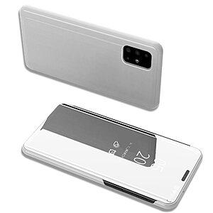 Θήκη Samsung Galaxy A71 OEM Mirror Surface View Stand Case Cover Flip Window ασημί