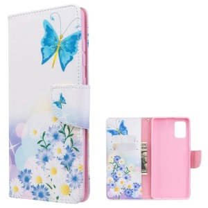 Θήκη Samsung Galaxy A71 OEM Blue Butterfly & Flowers με βάση στήριξης