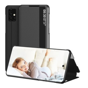 Θήκη Samsung Galaxy A71 OEM Half Mirror Surface View Stand Case Cover Flip Window από συνθετικό δέρμα μαύρο