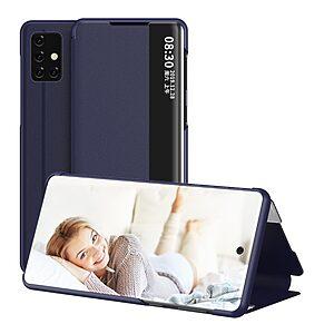 Θήκη Samsung Galaxy A71 OEM Half Mirror Surface View Stand Case Cover Flip Window από συνθετικό δέρμα μπλε