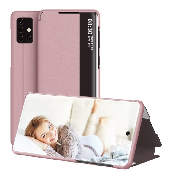 Θήκη Samsung Galaxy A71 OEM Half Mirror Surface View Stand Case Cover Flip Window από συνθετικό δέρμα ροζ χρυσό