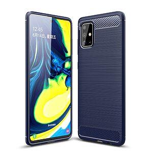 Θήκη Samsung Galaxy A71 OEM Brushed TPU Carbon Πλάτη μπλε