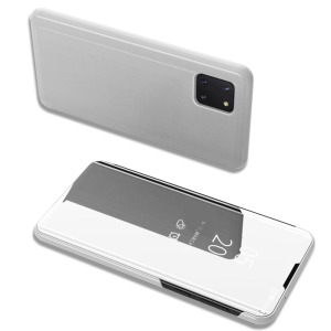 Θήκη Samsung Galaxy Note 10 Lite OEM Mirror Surface View Stand Case Cover Flip Window ασημί