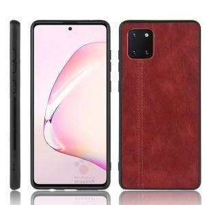 Θήκη Samsung Galaxy Note 10 Lite OEM Πλάτη Hybrid από συνθετικό δέρμα και TPU κόκκινο