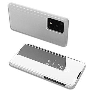 Θήκη Samsung Galaxy S20 Ultra OEM Mirror Surface View Stand Case Cover Flip Window ασημί