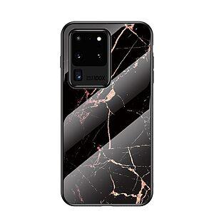 Θήκη Samsung Galaxy S20 Ultra OEM σχέδιο Marble με Πλάτη Tempered Glass TPU μαύρο / χρυσό