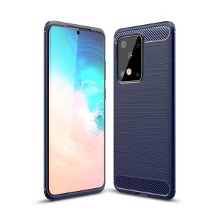 Θήκη Samsung Galaxy S20 Ultra OEM Brushed TPU Carbon Πλάτη μπλε