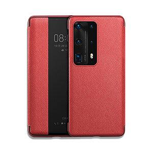 Θήκη Huawei P40 OEM Smart Cross Series View Window με λειτουργία Smart Wake Up / Sleep από ενισχυμένο πλαστικό και δερματίνη κόκκινο