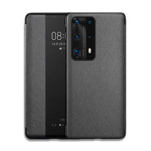 Θήκη Huawei P40 OEM Smart Cross Series View Window με λειτουργία Smart Wake Up / Sleep από ενισχυμένο πλαστικό και δερματίνη μαύρο