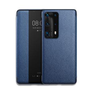 Θήκη Huawei P40 OEM Smart Cross Series View Window με λειτουργία Smart Wake Up / Sleep από ενισχυμένο πλαστικό και δερματίνη μπλε