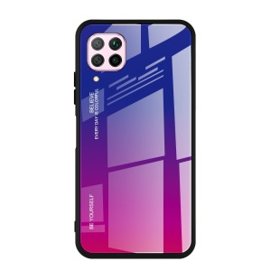 Θήκη Huawei P40 Lite OEM Gradient Color Laser Carving Tempered Glass Πλάτη TPU μπλε / φούξια