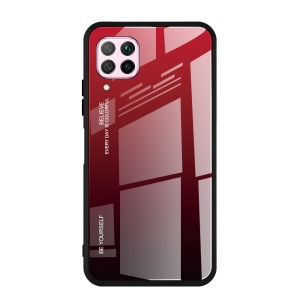 Θήκη Huawei P40 Lite OEM Gradient Color Laser Carving Tempered Glass Πλάτη TPU μαύρο / κόκκινο