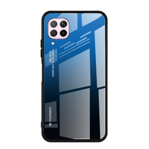 Θήκη Huawei P40 Lite OEM Gradient Color Laser Carving Tempered Glass Πλάτη TPU μαύρο / μπλε